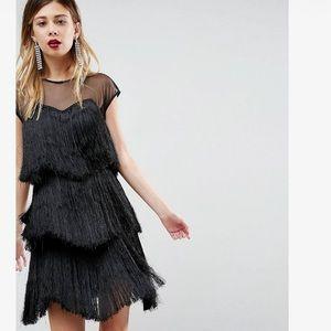ASOS brand black fringe flapper dress size 8